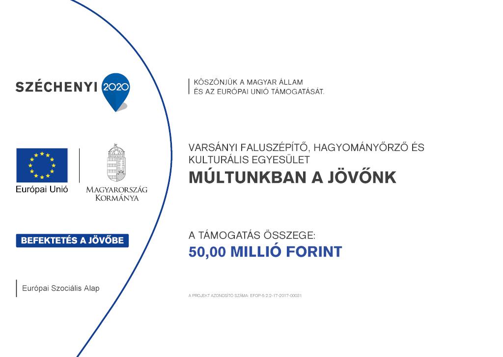 Varsányi Faluszépítő Hagyományőrző és Kulturális Egyesület Múltunkban a jövőnk európai uniós tájékoztató tábla